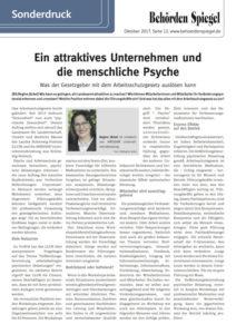 """""""Ein attraktives Unternehmen und die menschliche Psyche"""" - Artikel von Regine Jäckel im Behördenspiegel Okt. 2017"""
